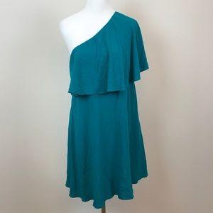 Loft NWT One Shoulder Teal Dress